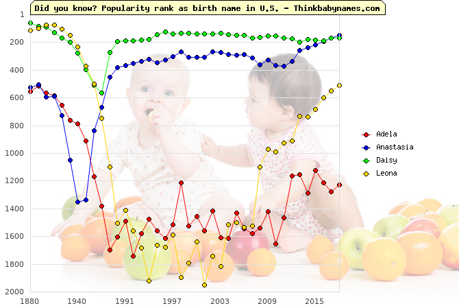 Top 1000 baby names ranking of Europe names: Adela, Anastasia, Daisy, Leona