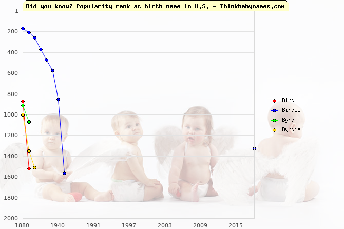 Top 2000 baby names ranking of Bird, Birdie, Byrd, Byrdie in U.S.
