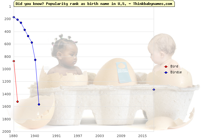 Top 2000 baby names ranking of Bird, Birdie in U.S.