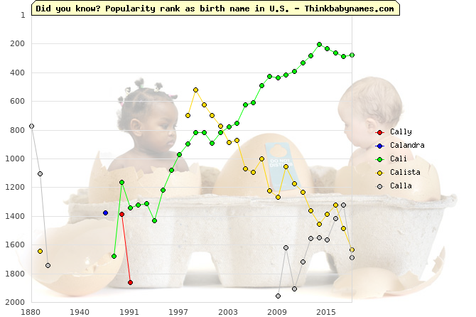 Top 2000 baby names ranking of Cally, Calandra, Cali, Calista, Calla in U.S.