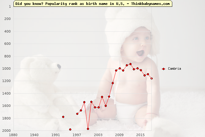 Top 2000 baby names ranking of Cambria name in U.S.