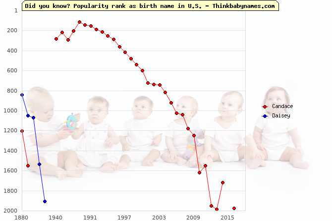Top 1000 baby names ranking of Candace, Daisey in U.S.