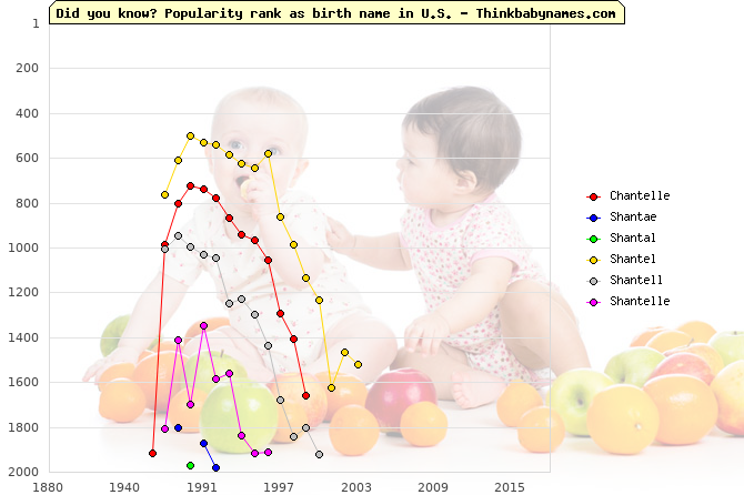 Top 2000 baby names ranking of Chantelle, Shantae, Shantal, Shantel, Shantell, Shantelle in U.S.