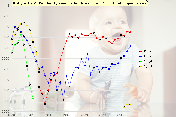 Top 2000 baby names ranking of Maia, Rhea, Sibyl, Sybil in U.S.