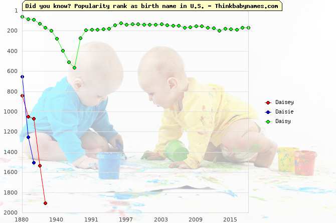 Top 1000 baby names ranking of Daisey, Daisie, Daisy in U.S.