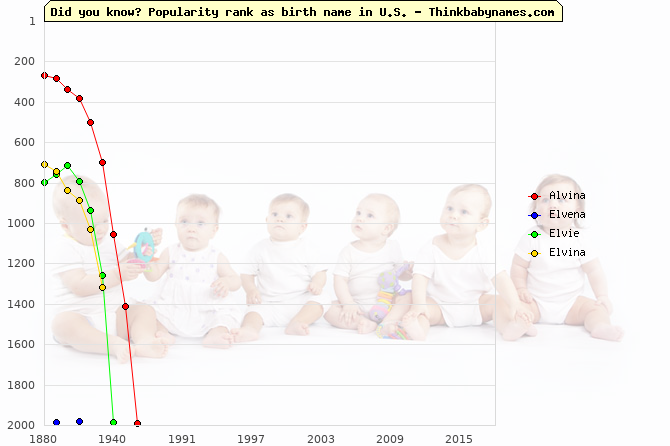 Top 2000 baby names ranking of Alvina, Elvena, Elvie, Elvina in U.S.