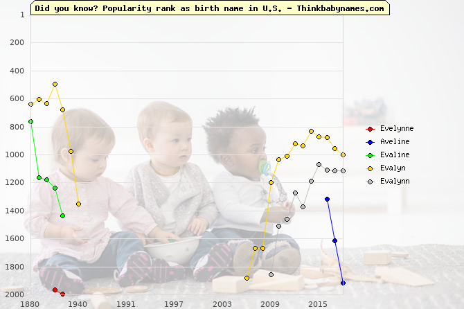 Top 2000 baby names ranking of Evelynne, Aveline, Evaline, Evalyn, Evalynn in U.S.