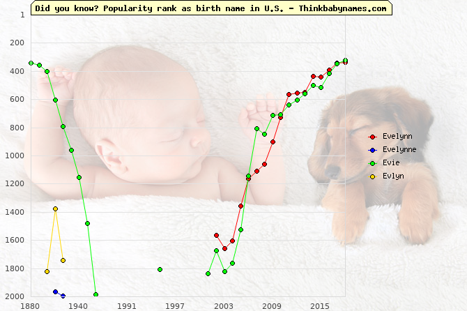Top 2000 baby names ranking of Evelynn, Evelynne, Evie, Evlyn in U.S.