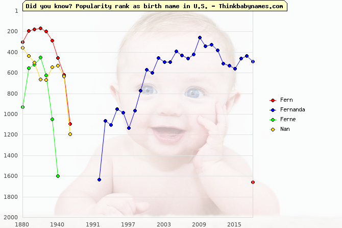 Top 2000 baby names ranking of Fern, Fernanda, Ferne, Nan in U.S.