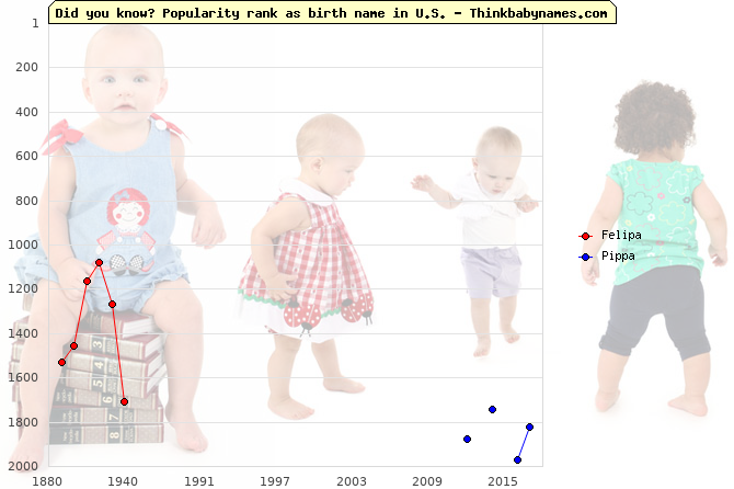 Top 2000 baby names ranking of Felipa, Pippa in U.S.
