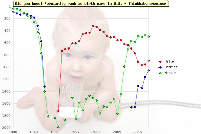 Top 2000 baby names ranking of Halle, Harriet, Hattie in U.S.