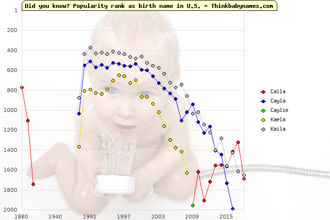 Top 2000 baby names ranking of Calla, Cayla, Caylie, Kaela, Kaila in U.S.