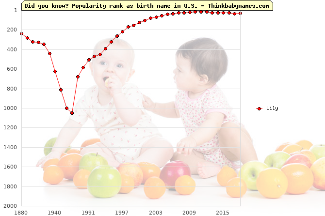 Top 2000 baby names ranking of Lily name in U.S.