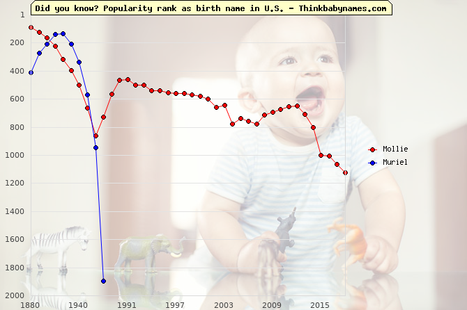 Top 2000 baby names ranking of Mollie, Muriel in U.S.