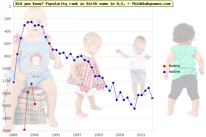 Top 2000 baby names ranking of Nadene, Nadine in U.S.