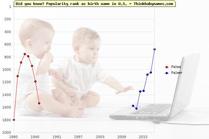 Top 2000 baby names ranking of Palma, Palmer in U.S.