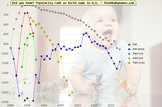 Top 1000 baby names ranking of Pat- names: Pat, Patience, Patrica, Patrice, Patricia