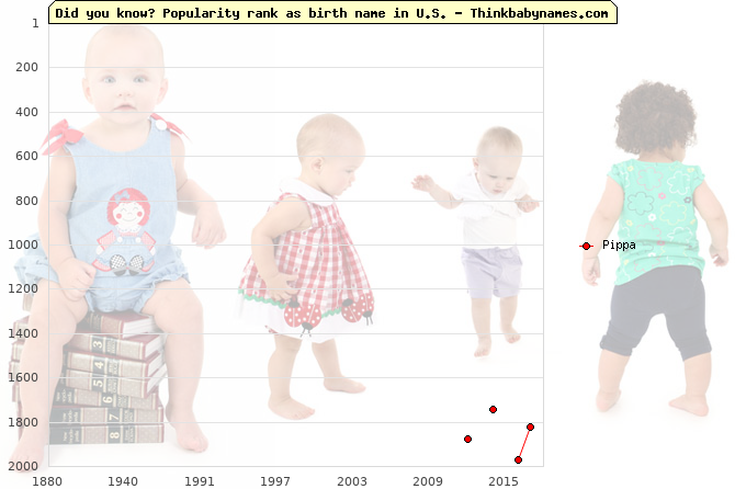Top 2000 baby names ranking of Pippa in U.S.