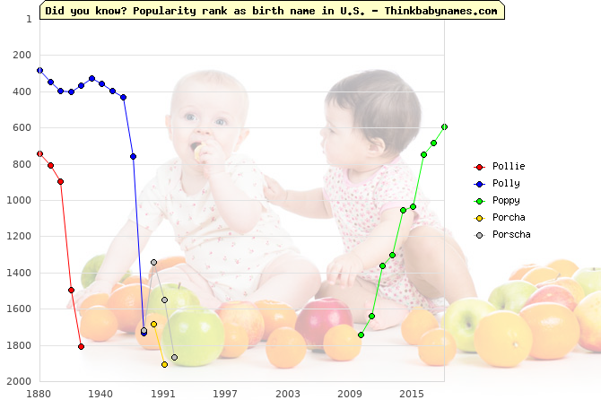 Top 2000 baby names ranking of Po- names: Pollie, Polly, Poppy, Porcha, Porscha