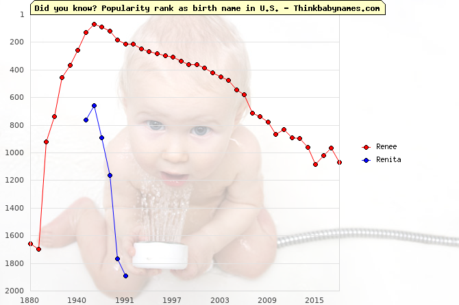 Top 2000 baby names ranking of Renee, Renita in U.S.