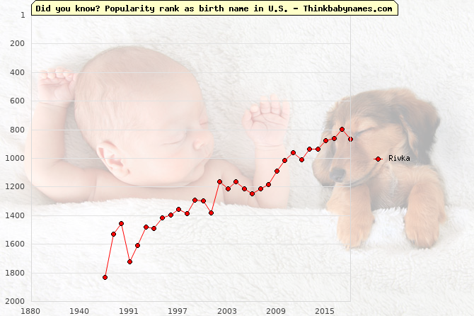 Top 2000 baby names ranking of Rivka name in U.S.