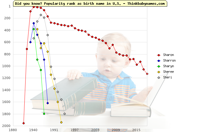 Top 1000 baby names ranking of Sharon, Sharron, Sharyn, Sheree, Sheri in U.S.