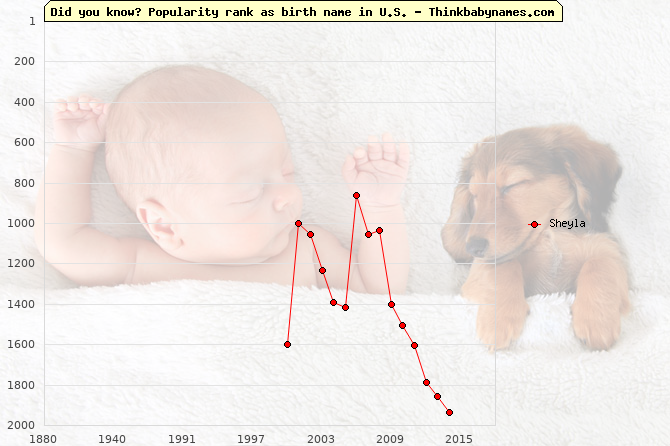 Top 2000 baby names ranking of Sheyla name in U.S.