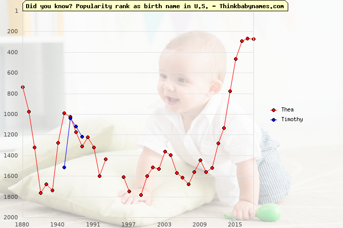 Top 2000 baby names ranking of Thea, Timothy in U.S.