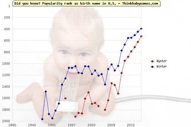Top 2000 baby names ranking of Wynter, Winter in U.S.
