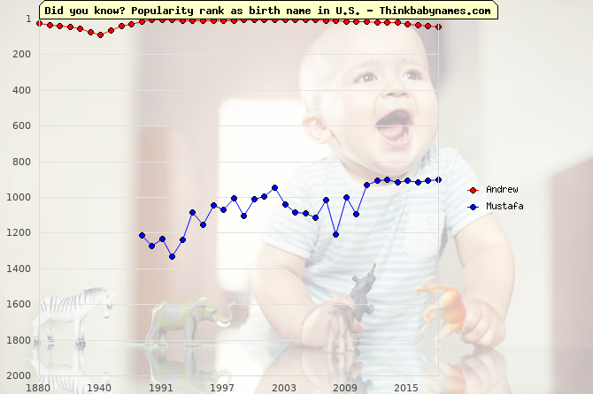 Top 1000 baby names ranking of Chosen names: Andrew, Mustafa