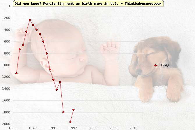 Top 1000 baby names ranking of Buddy name in U.S.