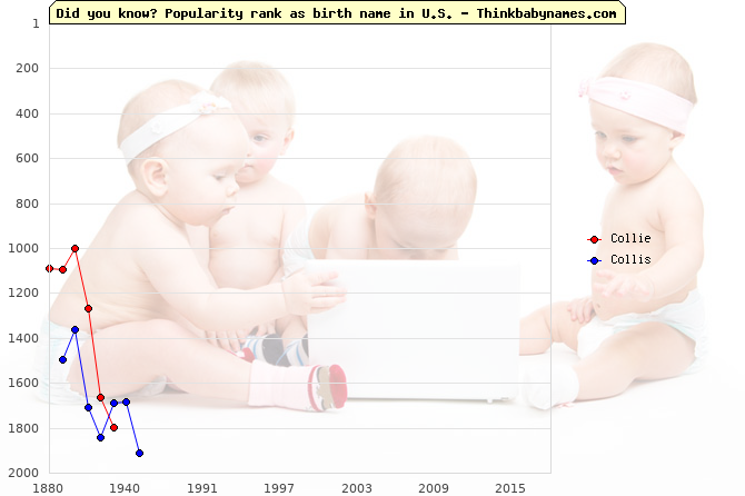 Top 2000 baby names ranking of Collie, Collis in U.S.