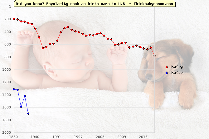 Top 2000 baby names ranking of Harley, Harlie in U.S.
