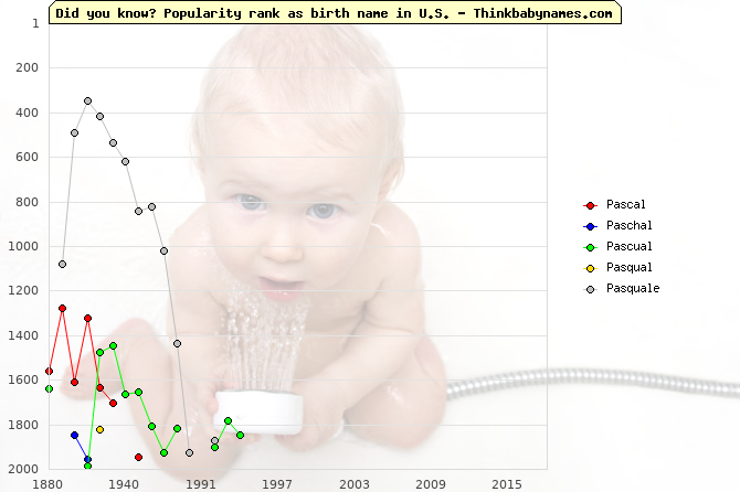Top 2000 baby names ranking of Pascal, Paschal, Pascual, Pasqual, Pasquale in U.S.