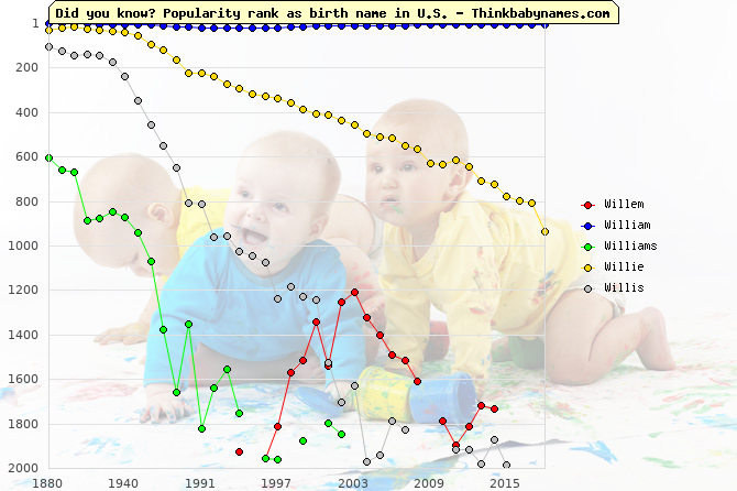 Top 2000 baby names ranking of Wil- names: Willem, William, Williams, Willie, Willis